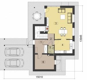 Protingas namas - pvz. projektas, pirmas aukstas